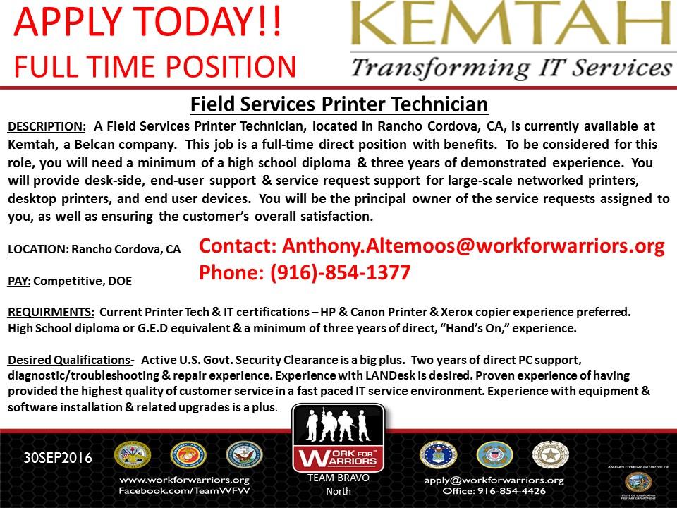 Field Services Printer Technician